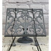 Cast Iron Floral Cookbook Stand in Grey