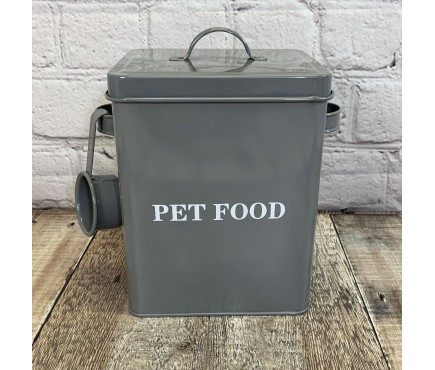 Pet Food Storage Tin in French Grey