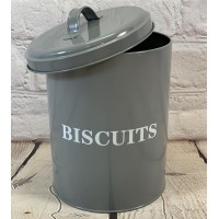 Factory Seconds - Metal Biscuit Tin In French Grey