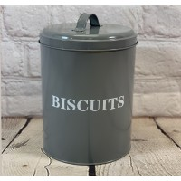 Metal Biscuit Tin In French Grey