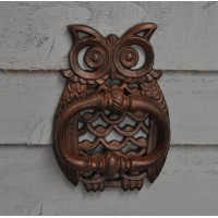 Owl Design Cast Iron Door Knocker by Fallen Fruits