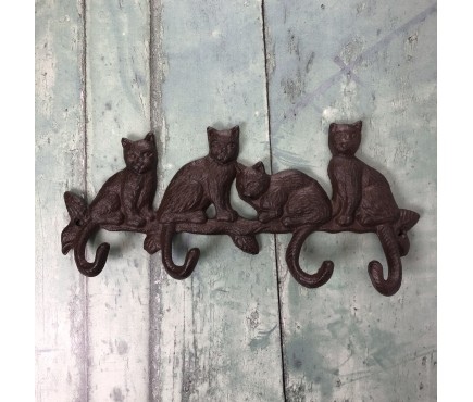 Cat Family Wall Coat Hook Rack in Cast Iron