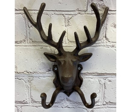 Cast Iron Stag Head Wall Coat Hook Rack