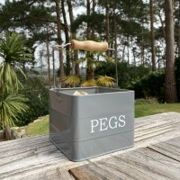 Peg Storage Tin In French Grey