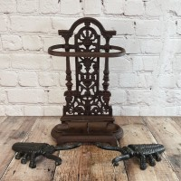 Cast Iron Umbrella Stand & Two Cast Iron Beetle Boot Jacks
