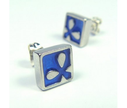 Blue Sea Flower Stud Earrings