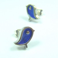Blue Sandbird Stud Earrings