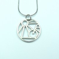 Silver Sun And Bike Pendant Necklace