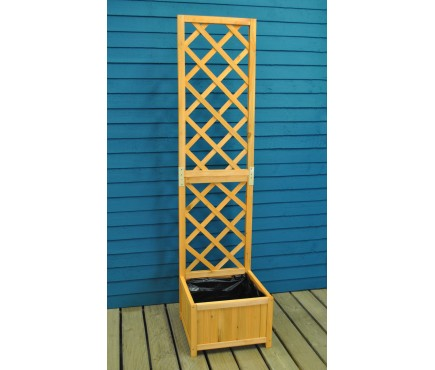 Wooden Trellis Planter with Liner