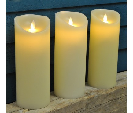 Battery Operated LED Dancing Flame Christmas Candles 23cm (Set of 3)