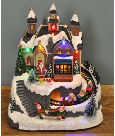 Christmas Scene Ornament with Moving Train and Sound