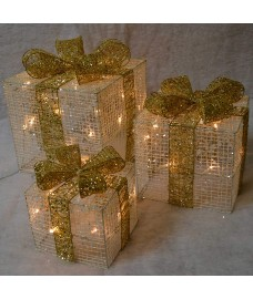 Set of 3 LED Light Up Cream Christmas Gift Boxes by Premier