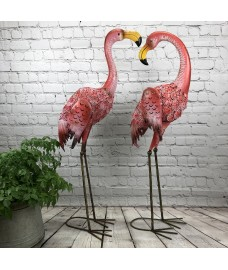 Pair of Flamingo Solar Light Garden Ornaments