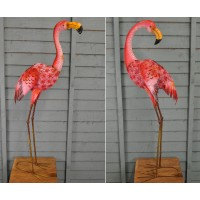 Set of 2 Metal Silhouette Flamingo Ornamental Garden Lights (Solar)