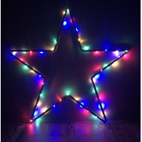 50 LED Pinwire Christmas Lights with Timer - Multi Coloured (Battery) by Premier