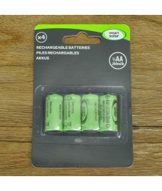 4 x 2/3 AA Rechargeable Batteries for Solar Lights by Smart Solar