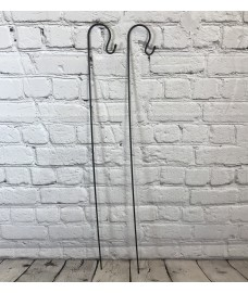 2 x Shepherds Crook Black Metal Garden Border Hooks (1m)