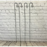 4 x Shepherds Crook Black Metal Garden Border Hooks (1.2m)