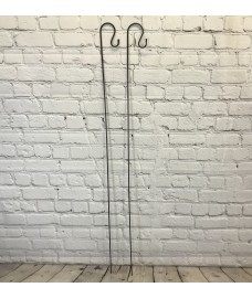 2 x Shepherds Crook Black Metal Garden Border Hooks (1.5m)