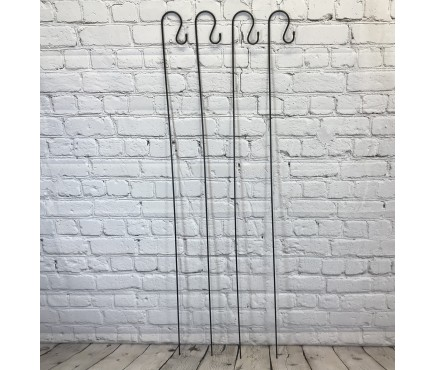 4 x Shepherds Crook Black Metal Garden Border Hooks (1.5m)