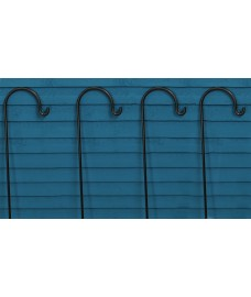 Pack of 4 Garden Shepherds Crook Black Metal Border Hooks (2.18m)