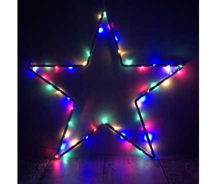 50 LED Pinwire Christmas Lights with Timer - Multi Coloured (Battery)