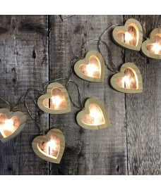 Wooden Heart String Lights (Battery)