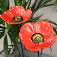 Set of 2 x Poppy Flower Dish Bird Feeders