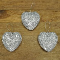 Set of 3 Silver Diamante Heart Hanging Decorations (8cm)