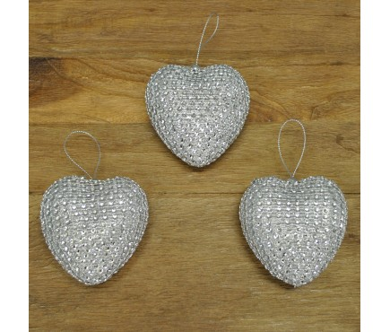 Set of 3 Silver Diamante Heart Hanging Decorations (8cm) by Premier