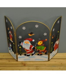 Santa and Reindeer Christmas Folding Fireguard Screen by Premier