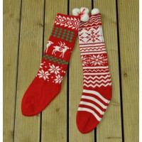 Traditional Knitted Wool Christmas Stocking (Sold Individually)