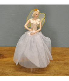 Fairy Angel Christmas Tree Topper With Gold Wings (White Dress) by Premier