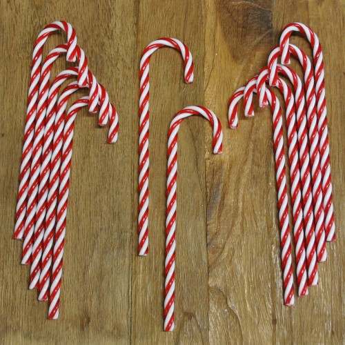 red white candy cane christmas decorations pack of 12 by premier