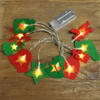 Battery Operated Felt Christmas String Lights Set of 10 by Premier