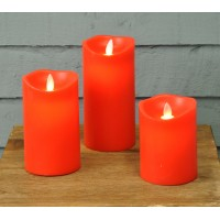Battery Operated Red Flicker Flame LED Candles (Set of 3) by Premier