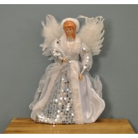 Fairy Christmas Tree Topper With Feather Wings (White & Silver Dress) by Premier