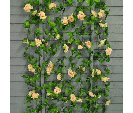 Pack of 10 x Selections Champagne Rose Artificial Garland (20m)