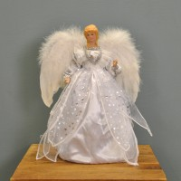 Angel Christmas Tree Topper With Feather Wings (White & Silver Dress) by Premier