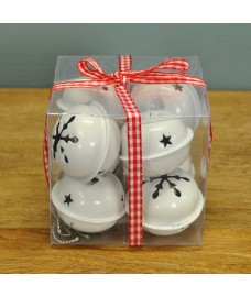 Pack of 8 White Jingle Bells Decorations by Premier