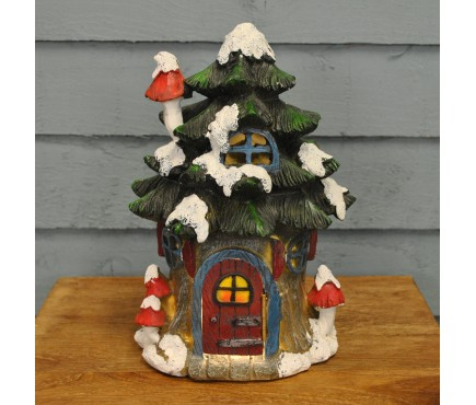 Christmas Scene Tree House Ornament Light by Three Kings