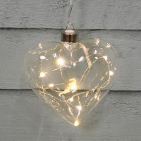 Battery Operated LED Crystal Heart Light Christmas Decoration by Three Kings