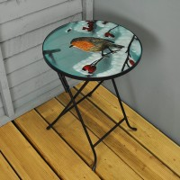 Folding Drinks Side Table Winter Robin Design by Three Kings