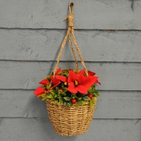 Decorative Artificial Poinsettia Bouquet Hanging Basket by Three Kings