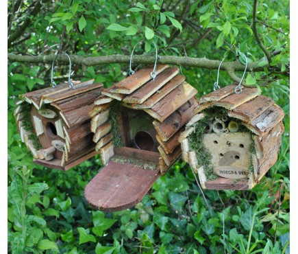 Wildlife Care Pack (Set of 3) Bird Nest Box, Insect Hotel and Squirrel Feeder