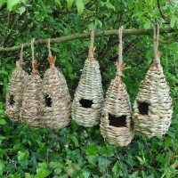 Straw and Raffia Bird Roosting Pouches (Set of 6)