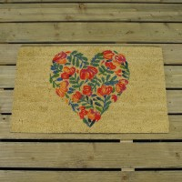 Poppy Heart Coir Doormat by Smart Garden