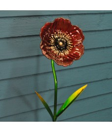 Glass Poppy Garden Stake by Smart Garden