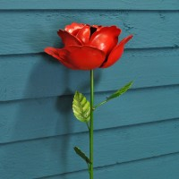 Red Rose Metal Garden Stake by Smart Garden