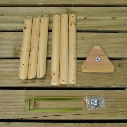 Base Stand And Anchoring Pegs For Wooden Bird Table